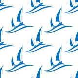 Yachting seamless pattern with blue boats Royalty Free Stock Photos