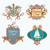 Yachting sketch emblems set Royalty Free Stock Images