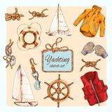 Yachting sketch set Royalty Free Stock Photos