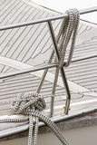 Yachting, thick ropes on sailboat Stock Photos