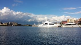 Yachting in Victoria . Boats along side a dock in British Columbia canada stock image
