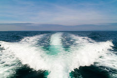 Yachting wave of boat. Yachting wake wave of boat on the ocean Royalty Free Stock Photo