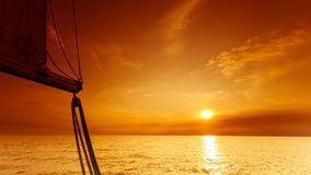 Yachting yacht sailboat in baltic sea at sunset sunrise. Royalty Free Stock Photography