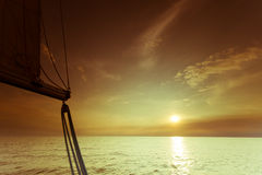 Yachting yacht sailboat in baltic sea at sunset sunrise. Stock Photo