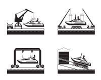 Yachtlansering på vatten stock illustrationer