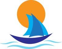 Yachtlogo royaltyfri illustrationer