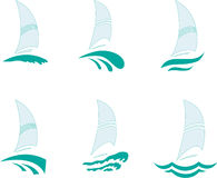 Yachts. Icons with the image of yachts on a white background Royalty Free Stock Photos