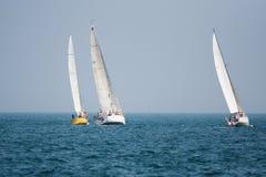 Yachts. Three yachts on Lake Michigan Royalty Free Stock Images