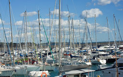 Yachts. Yachts masts on a harbor. Spain Royalty Free Stock Image