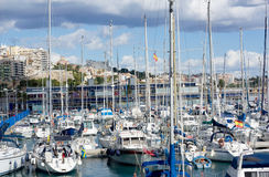 Yachts. Yachts in the harbour on the sundown. Spain Stock Photography