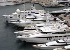 Yachts. Luxury yachts in Monte Carlo port Royalty Free Stock Photo