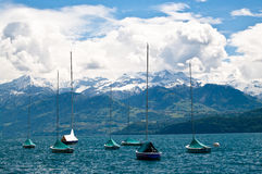 Yachts. Standing on lake in Swiss Royalty Free Stock Photo