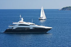 Yachts. Two yachts in adriatic sea Stock Image