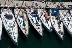 Yachts. Six yahts  (boats) at marine Stock Image