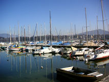 Yachts. A row of yachts on the shores of Lake Geneva Stock Photo