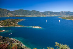 Yachts in Aegean sea. Near Poros, Greece Stock Photography