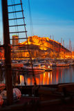 Yachts against Castle  in night. Alicante Stock Photography
