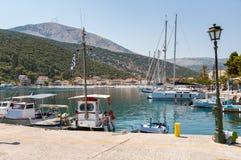 Yachts in Agia Effimia port on Kefalonia Stock Photo