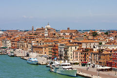 Yachts Along Canal in Venice Royalty Free Stock Photos