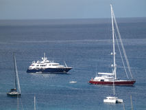Yachts at anchor in admiralty bay Stock Images