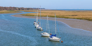 Yachts at anchor on the Solent Stock Images