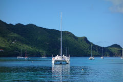 Yachts at anchor in the tropics Stock Photography