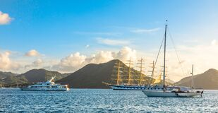 Free Yachts Anchored At The Rodney Bay With Big Naval Clipper, Rodney Bay, Saint Lucia, Caribbean Sea Stock Image - 172291101