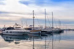 Yachts anchored in the bay royalty free stock photo