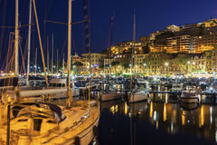 Yachts anchored in harbor in Naples, Italy Stock Images
