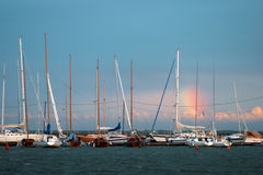 Yachts anchored in Helsinki Royalty Free Stock Photos