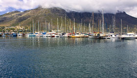 Yachts anchored in large harbour royalty free stock images