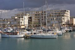 Yachts anchored at the marina Stock Images