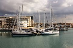 Yachts anchored at the marina Stock Photography