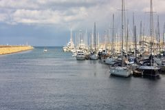 Yachts anchored at the marina Royalty Free Stock Image