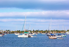 Yachts anchored in Miami city marina. Royalty Free Stock Images