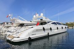 Yachts anchored in Port Pierre Canto in Cannes Royalty Free Stock Photos