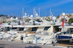 Yachts anchored in Port Pierre Canto in Cannes. CANNES, FRANCE - APRIL 12, 2015: Yachts anchored in Port Pierre Canto at the Boulevard de la Croisette in Cannes Stock Photography