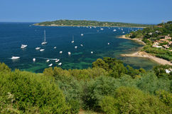 Yachts anchored in St. Tropez harbor, France Royalty Free Stock Photography