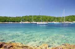 Yachts anchoring on the coast of Croatia Stock Photos