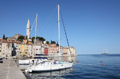 Yachts anchoring in Rovinj Stock Image