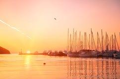 Free Yachts And Boats At Adriatic Sea Bay At Sunset Stock Image - 18672321