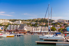 Free Yachts And Pleasure Boats Are Moored In Marina Of Small Town Stock Photo - 45186680