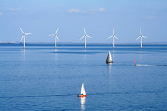Yachts And Wind Farm Stock Photography