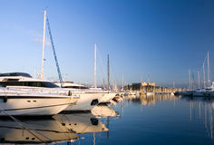 Yachts in Antibes. With fortress on background Royalty Free Stock Photography