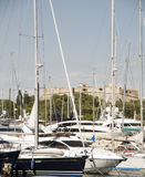 Yachts Antibes France French Riviera with castl Royalty Free Stock Images