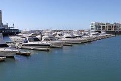 Yachts au pilier de marina de Glenelg photographie stock libre de droits