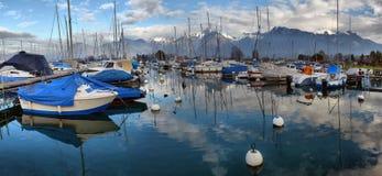 Yachts on autumn parking lot on Lake Geneva, SWISS stock images