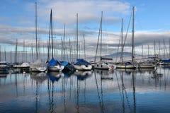 Yachts on autumn parking lot on Lake Geneva, SWISS royalty free stock images