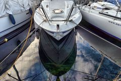 Yachts on autumn parking lot on Lake Geneva, SWISS stock photography