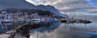 Yachts on autumn parking lot on Lake Geneva, SWISS royalty free stock image